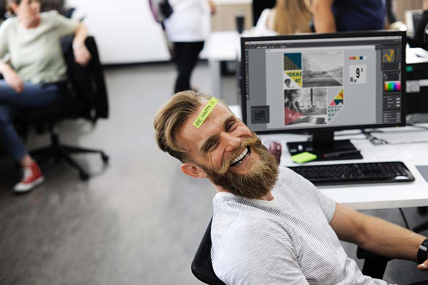 happy employee after successful office relocation