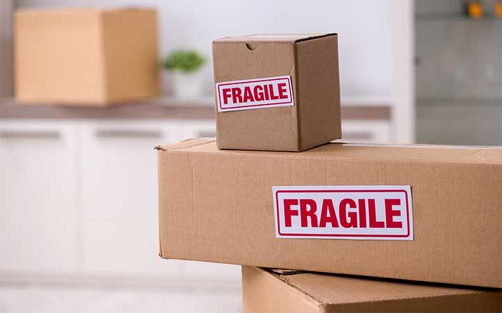 boxes labeled fragile