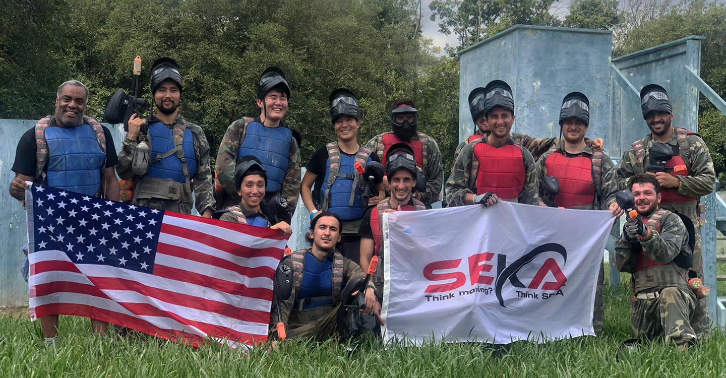 Seka Moving team at paintball